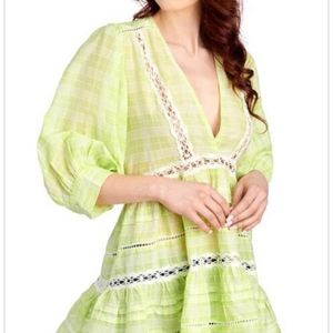 Free People Lime Green Cotton Lace Tunic Top Shirt